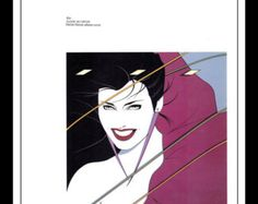 "Patrick Nagel Vintage Pinup Illustration Sexy Nude Pinup Mature Wall Art Deco Book Print 9"" x 12"" Duran Duran Cover"