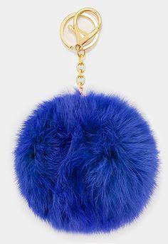 Large Rabbit Fur Pom Pom Keychain, Key Ring Bag Pendant Accessory - Cobalt