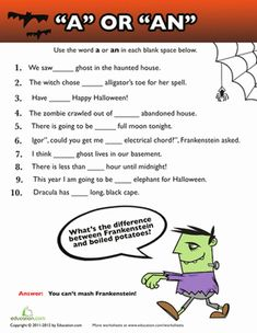 Printables Third Grade Grammar Worksheets grammar third grade and articles on pinterest halloween worksheets using a