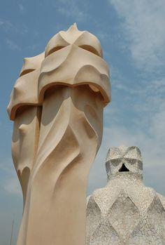 """Antoni Gaudi, Casa Mila, known as """"La Pedrera"""" (the quarry), view of chimneys and stairwell on roof, Barcelona"""
