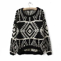 Cheapest Sweater European Fashionable Geometry Pattern Long Sleeves Cardigans Black&White