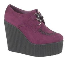 Lovely dark purple faux suede wedge creepers. Only £24.99!