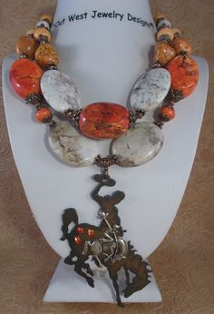 Cowgirl Necklace Set  Chunky Orange and White by Outwestjewelry