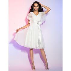 A-line/Princess V-neck Knee-length Chiffon Cocktail Dress – USD $ 89.99