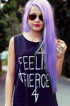 lilac hair   & feeling fierce shirt