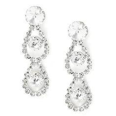 #jeweltweets Silver Crystal 2 Teardrop Pear Shape & Round Circle Shape Rhinestone Linked Dangle Earrings