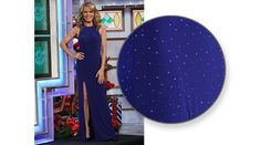 LA FEMME Sapphire blue jersey gown enhanced with scattered blue aurora rhinestones, shoulders w/nude illusion insets, sleeveless, low back with crisscross straps, slit on right front, flared hemline | Vanna White's dresses | Wheel of Fortune