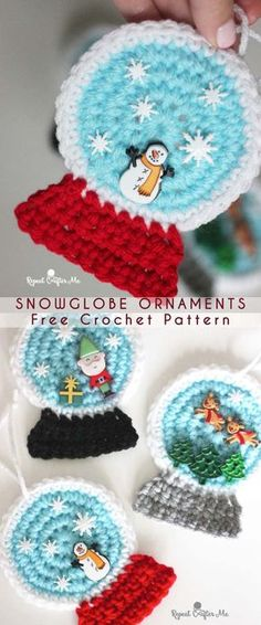 15 minutes SnowGlobe Ornament Free Crochet Pattern brilliant tut on how to make a Tunisian short row circle…easy enough to practice your Tunisian crochet stiches and it's small enough to use a regular hook…. Crochet Christmas Decorations, Handmade Christmas Tree, Crochet Ornaments, Christmas Crochet Patterns, Crochet Christmas Hats, Origami Ornaments, Christmas Scarf, Christmas Gifts, Crochet Snowflakes