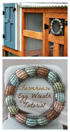 This farmhouse egg wreath is easy to make! Paint the eggs any color you'd like, and hang in a farmhouse kitchen or on a chicken coop!