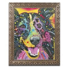 Trademark Fine Art Dean Russo Smiling Collie Framed Wall Art - ALI1405-G1