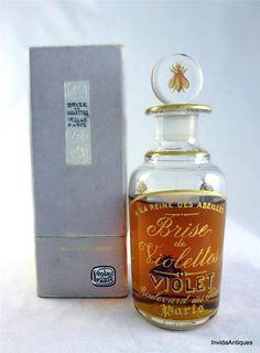 1918 Baccarat Violet Brise de Violet Perfume 3/4 Full Bottle & Rare Veolay Box