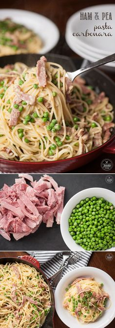 you're looking for a rich and satisfying pasta dinner, this Ham and Pea Pasta Carbonara will quickly become a family favorite!If you're looking for a rich and satisfying pasta dinner, this Ham and Pea Pasta Carbonara will quickly become a family favorite! Ham Pasta, Ham Dishes, Pasta Dishes, Food Dishes, Casserole Spaghetti, Ham Casserole, Pasta Carbonara, Gourmet, Noodles