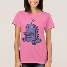 Robot Dino - Blue T-Shirt - click/tap to personalize and buy Robot Theme, Wardrobe Staples, Fitness Models, T Shirts For Women, Casual, Fabric, Sleeves, Cotton, Mens Tops