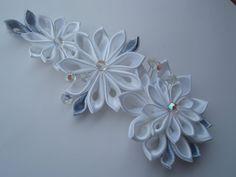 Alligator Hair Clip Bridal Headpiece - Crystal Bead White & Silver Kanzashi Flowers $29.00 USD