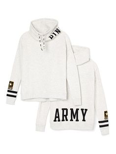 Army Cowl-Neck Pullover PINK  LK-330-130 Army 69.95 Cozy fit with a soft, slouchy neckline—our newest pullover is made for snuggling up in and keeping warm on game day. From the Victoria's Secret PINK Collegiate Collection. Relaxed, easy fit Drawstring cowl neck Print graphics Soft, light & textured French terry Imported cotton/polyester