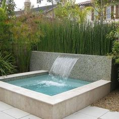 Here is a simple designed plunge pool or hot tub with a basic waterfall feature. Did you know that you can build many water features yourself and save hundreds of dollars? Custom Built Spas can not on Small Backyard Pools, Small Pools, Backyard Patio, Hot Tub Backyard, Rustic Backyard, Modern Backyard, Backyard Ideas, Kleiner Pool Design, Dipping Pool