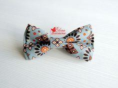 Купить Бабочка галстук серо-коричневая, хлопок - серый, орнамент, серо-синий, коричневый, оранжевый