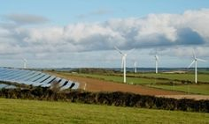 Eco Friendly Power in the hills near Truro. Windmills and Solar Panels.
