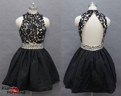 Unique Black And Champagne Short Prom Dress 2014- New Arrival Princess Backless Short Black Prom Dresses Under 200 Online Sale 9009