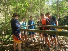 Building a bamboo survival shelter