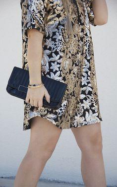 Gold + Black Sequin Tee Dress
