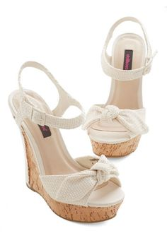 Cabana Cruise Wedge - High, Woven, Solid, Bows, Casual, Beach/Resort, Spring, Summer, Good, Platform, Wedge, Cream