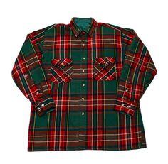 Vintage 90s Tartan Acrylic Shirt Jacket Mens by VintageMensGoods