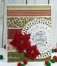 Christmas card using Spellbinders Layered Poinsettia dies with coordinating Festive Poinsettia stamp set.  Doily made with Spellbinders Delightful Circles dies.  #Christmas #poinsettia #card