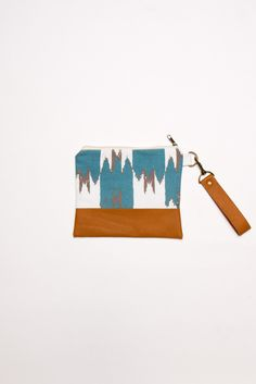 Ikat Zip Pouch in Teal