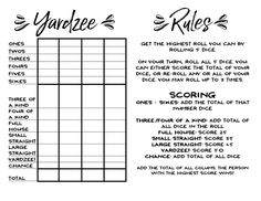 Yardzee Game + Rules - Giant Lawn Dice - Our Handcrafted Life