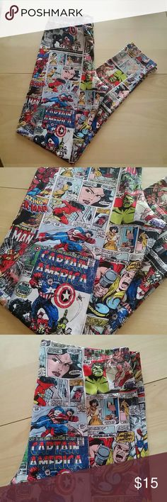 Marvel Comics leggings medium Marvel Comics leggings in size medium. Excellent condition, no snags, rips or piling. Looks and feels like new! Marvel Pants Leggings