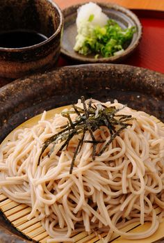 Japanese soba noodles cold style; good on hot days