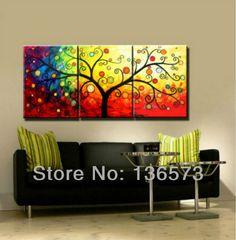 hecho a mano pieza 3 lienzo de arte de la pared conjuntos de dinero del árbol de pintura al óleo para colorear imágenes en la pared de la sala de decoración para el hogar moderno