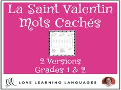 Primary French - Valentine's Day Word Search - Mots Cachés - La Saint ValentinThis literacy center or independent work activity for primary core French or primary French immersion is an easy, no-prep, black and white, print it . Valentines Word Search, Valentines Day Words, Valentines Day Activities, Ways Of Learning, Learning Process, How To Speak French, Learn French, Work Activities, Everyday Activities