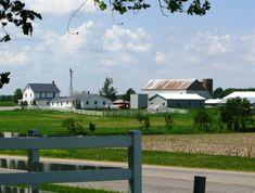 Amish farm near Berne in Adams County, Indiana.