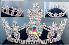 Crown/Royal Tsarina State Rhinestone Full Silver Queen, King Crown UNISEX Aurora Borealis - Crown Designers - Rhinestone Crowns, Tiaras & Scepters