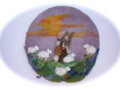 Felted Picture Shepherd and his sheep ,tapestry,Wet felted,Needle Felted. Waldorf. $56,50, via Etsy.