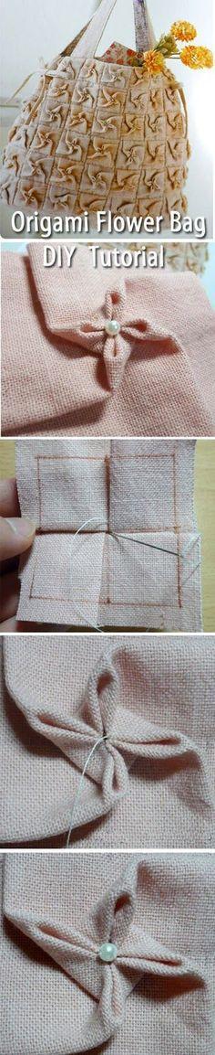 Origami Flower Bag. DIY step-by-step tutorial. Сумка из цветов оригами своими руками. http://www.handmadiya.com/2015/08/origami-flower-bag.html
