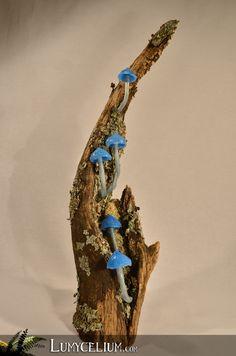 LUMYCELIUM - La main de Neptune - Décoration de petits champignons à LED sur souche de bois et mousse stabilisée