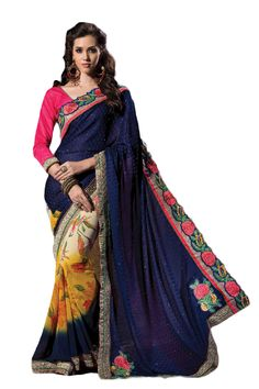 Fancy Embroidered Designer Saree STU34010