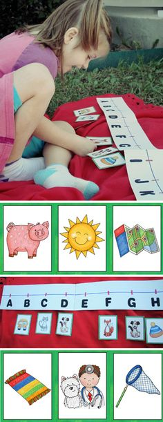 Phonemic awareness: here we're listening for beginning and ending consonant sounds and placing flashcards on an ABC line . . . have you ever thought that it'd be nice if flashcards were designed by a reading teacher and not a random illustrator?  That's where I come in, folks.  These cards are perfect not just for this activity, but for any CVC work.  They are one of three sets in my ABC Beginners Cards. #education #literacy #alphabet