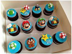 Mario cupcaked Mario Birthday Cake, Super Mario Birthday, Super Mario Party, Birthday Cupcakes, 5th Birthday, Cupcakes Super Mario, Kid Cupcakes, Themed Cupcakes, Cupcake Cakes