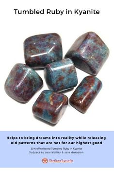 Tumbled Ruby in Blue Kyanite (India) - Tumbled Stones- Ruby in Kyanite - Healing Crystals Crystals Minerals, Crystals And Gemstones, Stones And Crystals, Healing Crystals, Natural Gemstones, Crystal Names, Crystal Meanings, Root Chakra Stones, Crystal System