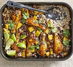 Mango Chicken, Bean and Rice Bake - Drumsticks are ideal for an all-in-one traybake - the rice, beans and spicy seasoning make it a little like Caribbean jerk chicken Jerk Chicken, Mango Chicken, Chicken Legs, Chicken Rice, Bbc Good Food Recipes, Cooking Recipes, Healthy Recipes, Easy Recipes, Chicken Drumstick Recipes