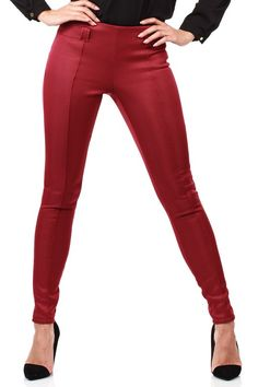 Claret matching pants with decorative zippers