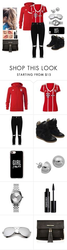 """""""Feeling the Fever (Football Jersey Series - FC Bayern Munich)"""" by teodoramaria98 ❤ liked on Polyvore featuring adidas, Boohoo, Isabel Marant, Casetify, Lord & Taylor, Nixon, Edward Bess, River Island, football and jersey"""