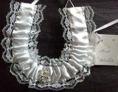 Silver Cupid White Satin Horseshoe