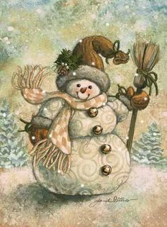 Christmas art, snowman art by renowned painter Janet Stever. Vintage Christmas Cards, Christmas Pictures, Christmas Snowman, Winter Christmas, Christmas Time, Christmas Crafts, Christmas Decorations, Xmas, Merry Christmas