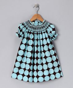 modern color and print Brown & Turquoise Bishop Dress Frocks For Girls, Little Girl Dresses, Girls Dresses, Little Fashion, Kids Fashion, Fashion Outfits, Punto Smok, Baby Dress, Dress Up
