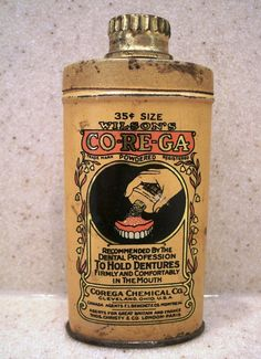 Vintage Denture Adhesive Powder Tin by redopalooza on Etsy, $11.00